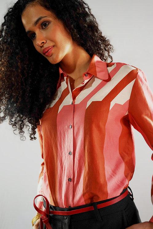 Camicia fantasia geometrica cotone-seta/sconto 50%