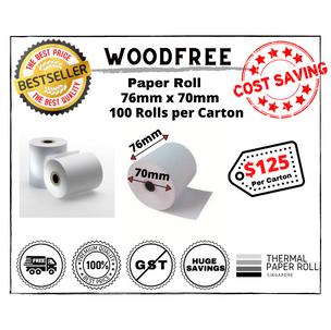 Woodfree Paper Roll 76mm x 70mm