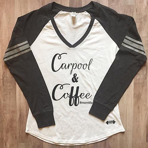 Carpool & Coffee White/Charcoal Long Sleeve V-Neck Tee