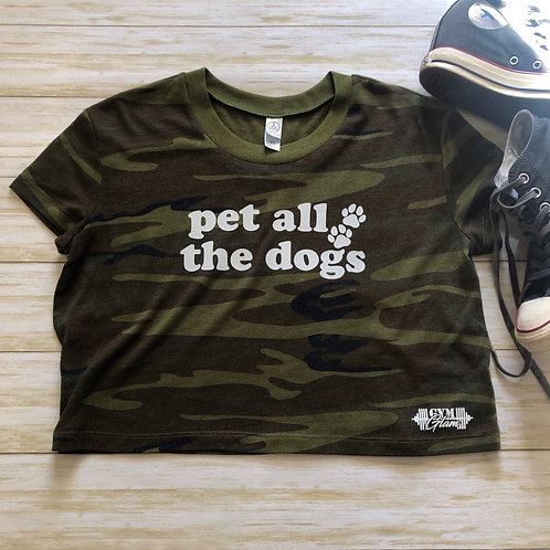 Pet All The Dogs camo Crop Tee