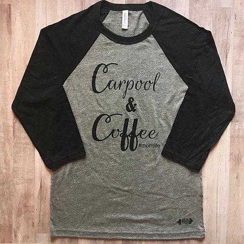 Carpool & Coffee Grey/Black Heather 3/4 Sleeve Baseball Tee