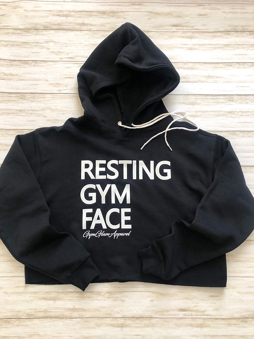 Resting Gym Face Fleece Cropped Hoodie