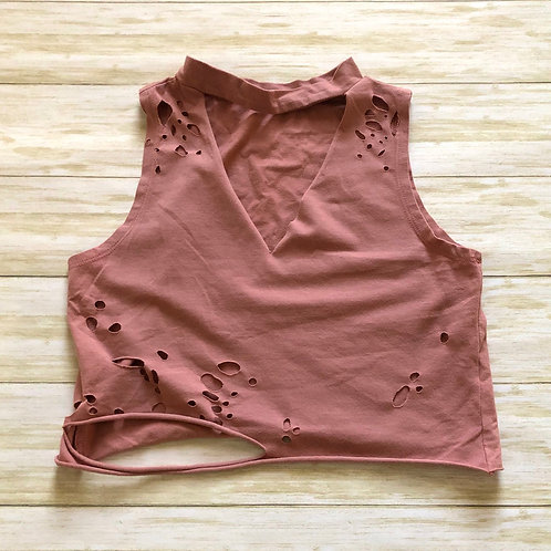 Dusty Rose Choker Neck Distressed Crop