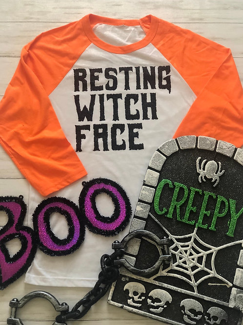 Resting Witch Face Baseball Tee