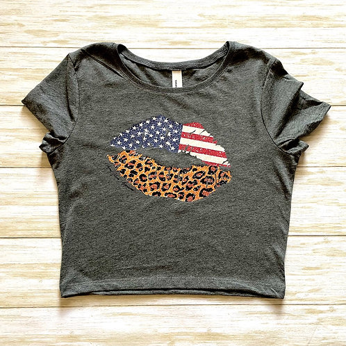 American Flag Leopard LIPS Cropped Baby Tee