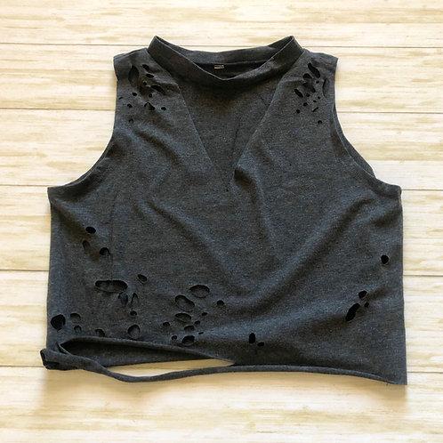Charcoal Grey Choker Neck Distressed Crop