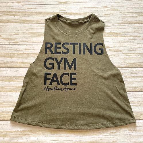 Resting Gym Face Crew Neck Racerback Crop