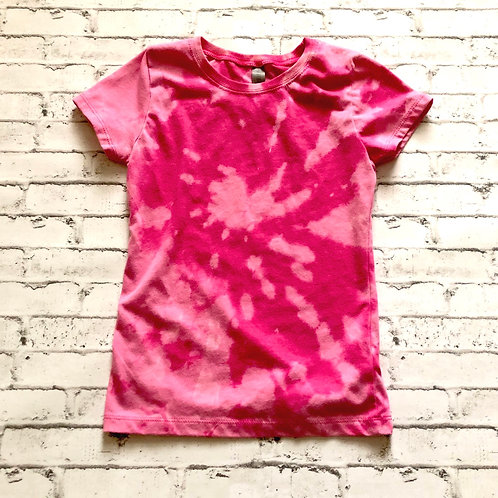 Pink Reverse Tie Dye YOUTH GIRLS Tee