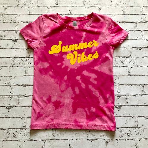 Summer Vibes Pink Reverse Tie Dye YOUTH GIRLS Tee