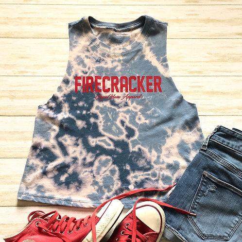 FIRECRACKER Teal Tie Dye Crewneck Racerback Crop