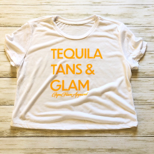 Tequila, Tans & Glam Flowy Crop Tee