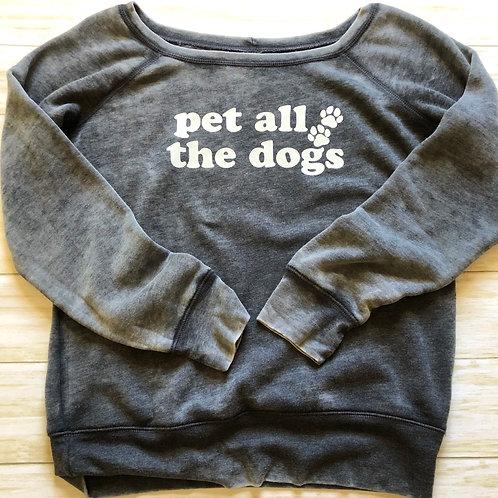 Pet All The Dogs Off The Shoulder Fleece Sweatshirt