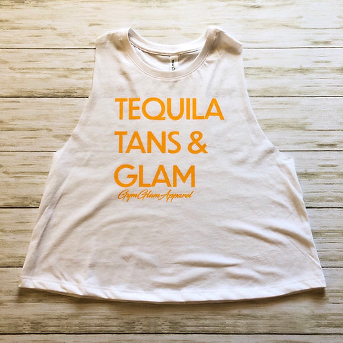 Tequila, Tans & Glam Crewneck Racerback Crop