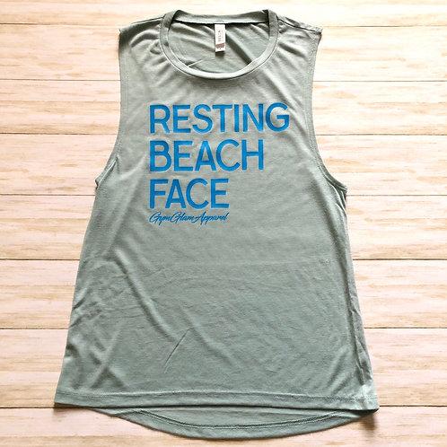 Resting Beach Face Women's Muscle Tank