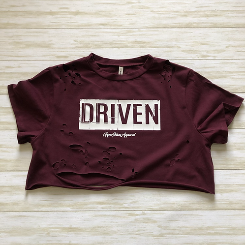 DRIVEN Distressed Crewneck Cropped Tee