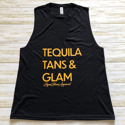 Tequila, Tans & Glam Cut Neck Tank