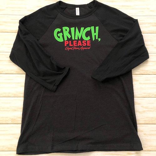 Grinch, Please Unisex 3/4 Sleeve Baseball Tee