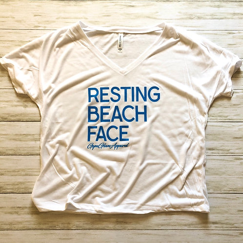 Resting Beach Face Slouchy V Neck Tee