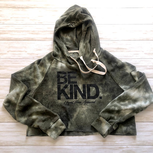 BE KIND Tie-Dye Cropped Hoodie