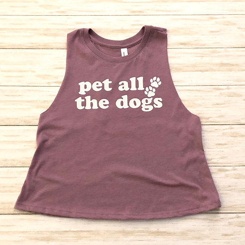 Pet All The Dogs Crew Neck Racerback Crop