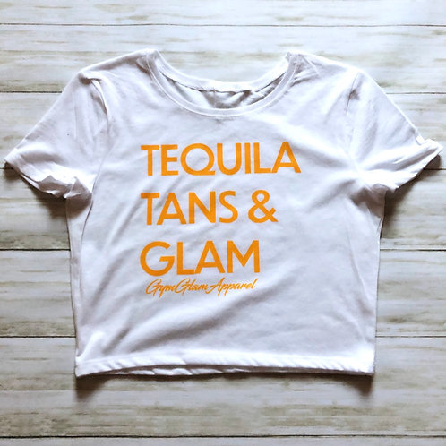 Tequila, Tans & Glam Cropped Baby Tee