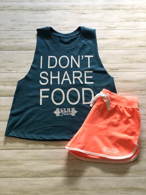 I DON'T SHARE FOOD Crew Neck Racerback Crop