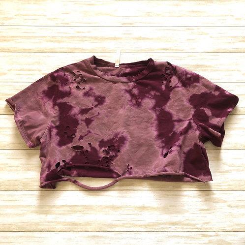 Maroon Reverse Tie Dye Crewneck Distressed Crop Tee