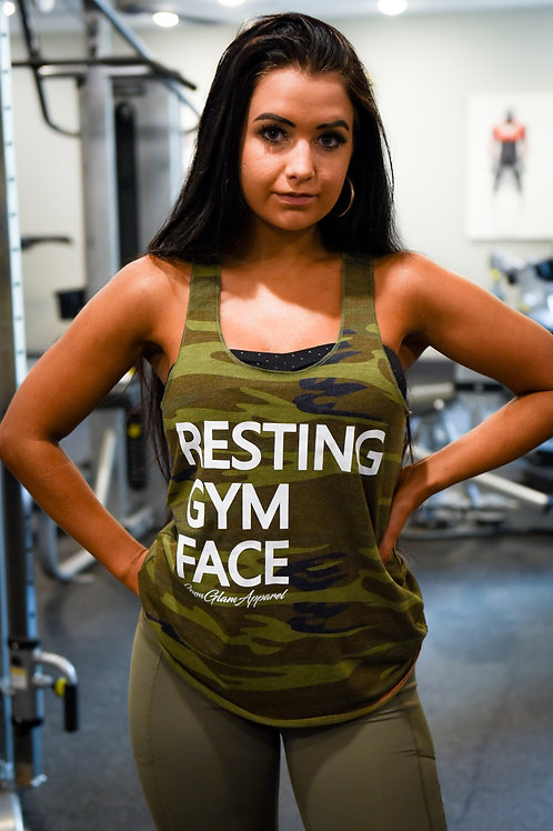Resting Gym Face Camo Racerback Tank
