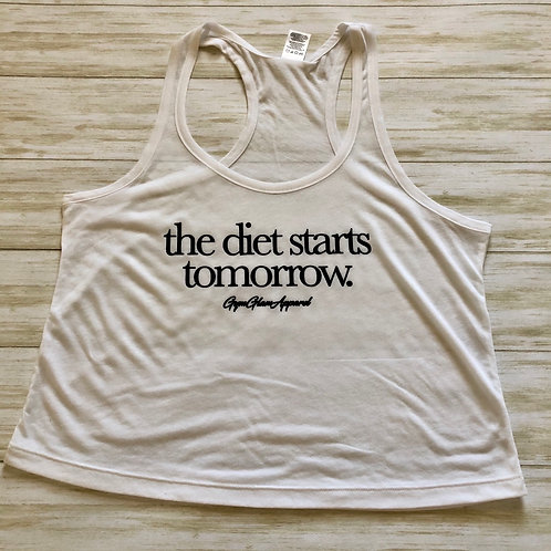 The Diet Starts Tomorrow Flowy Racerback Crop