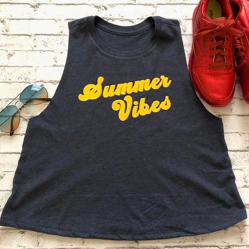 Summer Vibes Crew Neck Racerback Crop