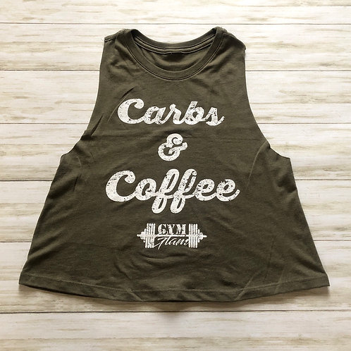 Carbs & Coffee Crew Neck Racerback Crop