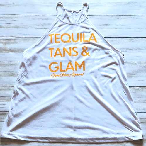 Tequila, Tans & Glam High Neck Flowy Tank