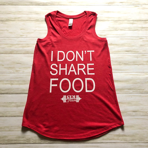 I DON'T SHARE FOOD Racerback Muscle Tank