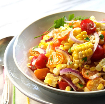 Grilled Corn Spinach and Tomato Salad