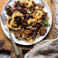 Goat Cheese Ravioli Mushroom-Sage Cream