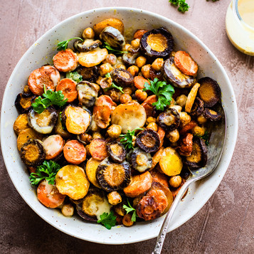 Sweet/Spicy Roasted Carrots Parsnips & Chickpeas