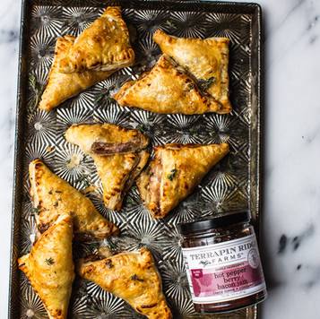 Ham and Cheese Pastries with Hot Pepper Bacon Jam