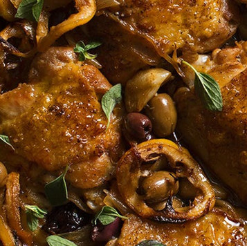 Braised Chicken Thighs w/ Lemon Garlic & Greek Olives