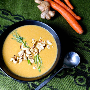 Carrot and Cashew Soup with Parsley Oil