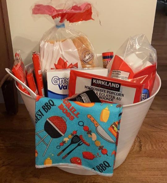 Basket we put together to give residents for a Netflix Watch Party