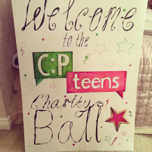 Standing here in the music hall with my microphone and glitterball - the CP Teens UK Ball!