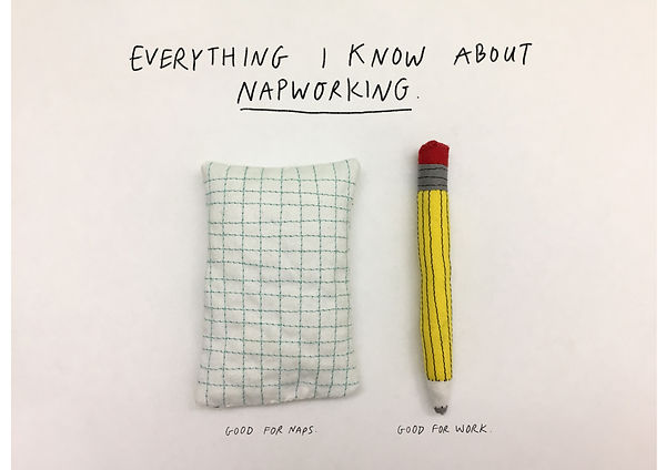 Everything I know about napworking. Handsewn pillow and pencil.
