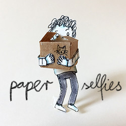 paper person carrying a box with cat