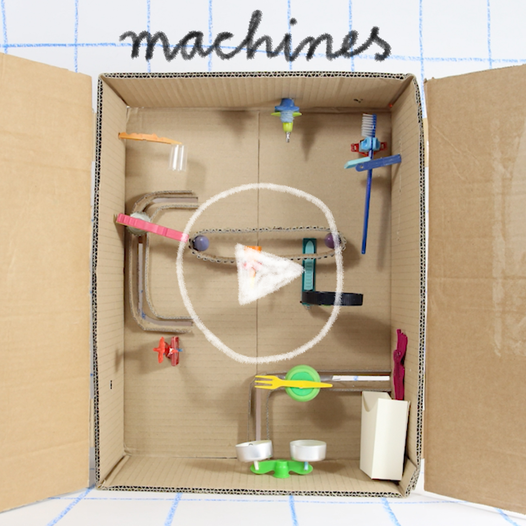 Cardboard machine with found objects