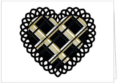 BLACK & GOLD PLAID HEART