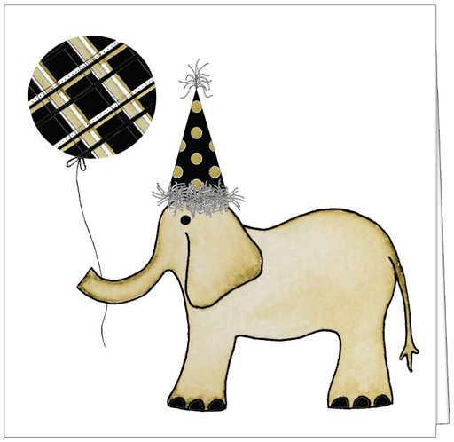 GGE128 - ELEPHANT WITH PLAID BALLOON