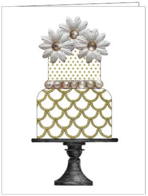 CCC94 - WHITE & GOLD SCALLOPED CAKE