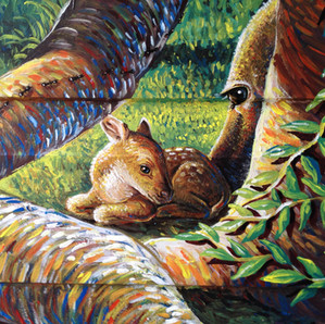 detail - a baby deer is born (not native to Australia, these deers are a personal offering to the birth of a baby boy from a couple of friends of mine, in the Us).