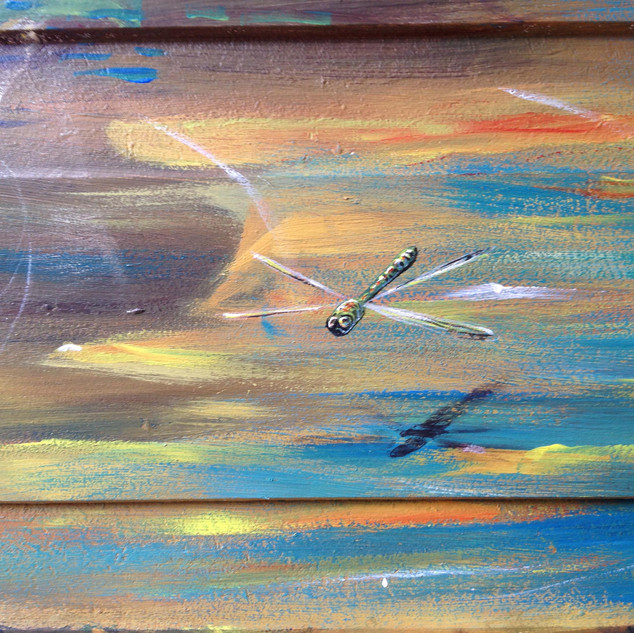 detail: a dragonfly flying over the water
