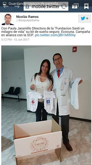 Paula Jaramillo y el Presidente de la Sociedad Colombiana de Pedaitria Dr Nicolas Ramos